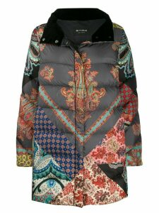 Etro patchwork print down coat - Grey