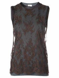 Brunello Cucinelli lace detail top - Grey