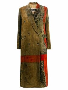 Uma Wang double breasted patchwork coat - Brown