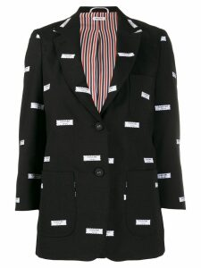 Thom Browne embroidered label blazer - Black