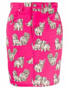 MSGM cat print denim skirt - Pink