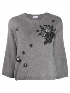 Red Valentino floral embroidery crew neck jumper - Grey