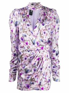 Filles A Papa floral-print wrap-effect dress - Purple
