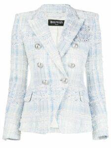 Balmain double-breasted tweed blazer - Blue