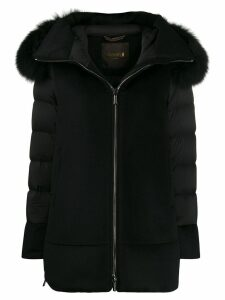 Moorer Fresia contrast padded coat - Black
