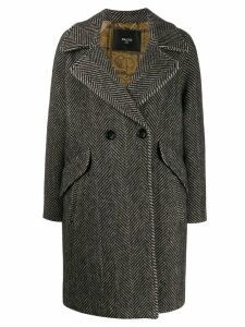 Paltò herringbone double-breasted coat - Black