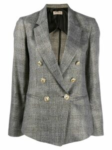 Blanca checked double-breasted blazer - Grey