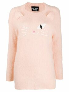 Boutique Moschino cat embroidered sweater - Pink