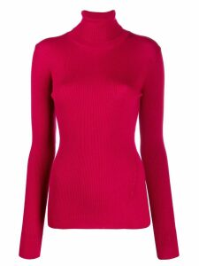 Closed roll-neck fitted sweater - Pink