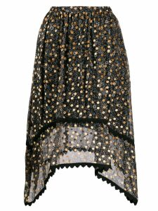 See By Chloé velvet-flocked floral-print skirt - Black