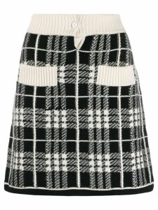 Barrie checked A-line skirt - Black