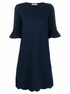 D.Exterior ruffled sleeve midi dress - Blue