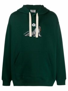 Acne Studios animal embroidered hoodie - Green