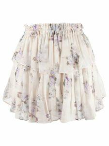 Love Shack Fancy tiered silk mini skirt - White