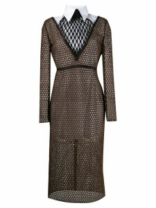 Fendi double-layered macramé dress - Black