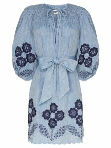 Innika Choo embroidered chambray dress - Blue