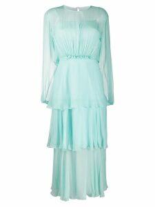 Alberta Ferretti ruffled midi dress - Blue