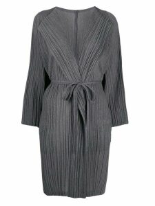 Pleats Please Issey Miyake belted pleated coat - Grey