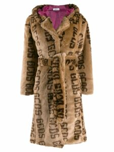 Gcds Faux fur logo coat - Brown
