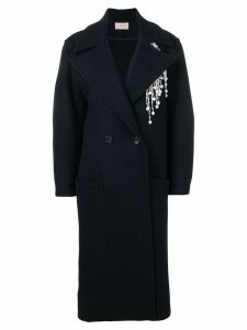 Christopher Kane pearl embellished coat - Blue