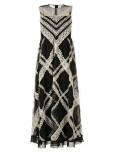 Red Valentino lace panels long dress - Black