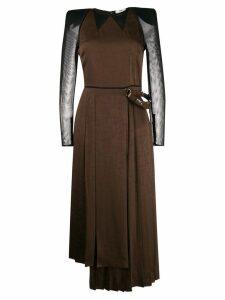 Fendi pleated wrap midi dress - Brown