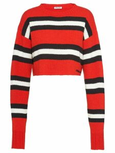 Miu Miu striped boxy-fit jumper - Red