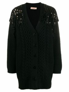 Twin-Set sequin knitted cardigan - Black