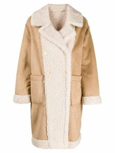 Twin-Set faux shearling coat - Brown
