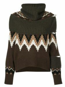 Sacai oversized turtle neck jumper - Brown