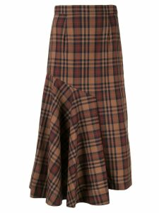 Le Ciel Bleu asymmetric check print skirt - Brown