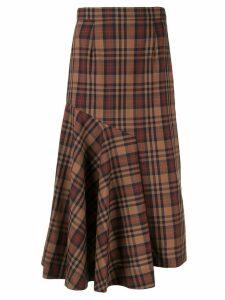 Le Ciel Bleu asymmetric check print skirt - Brown