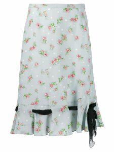 Miu Miu floral print midi skirt - Blue