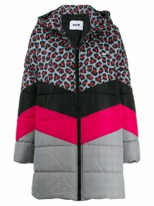 MSGM quilted multi-pattern coat - Grey