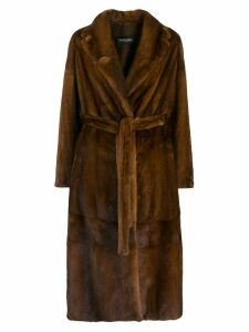 Simonetta Ravizza belted long coat - Brown