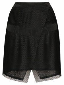 032C plissé pleated wrap mini skirt - Black
