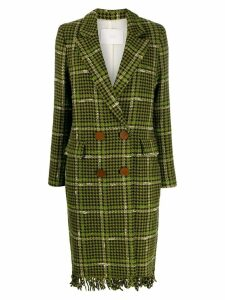 Tela fringed hem houndstooth coat - Green