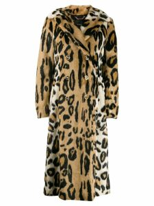 Versace leopard print double-breasted coat - Brown