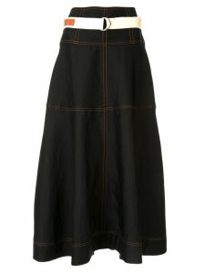 Lee Mathews contrast stitching midi skirt - Black