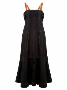 Lee Mathews contrast stitching midi dress - Black