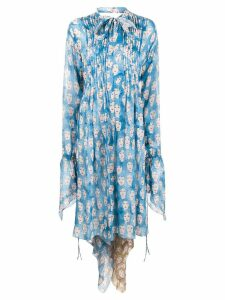 LANVIN printed tie-neck dress - Blue