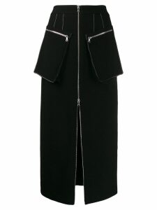 David Koma midi peplum skirt - Black