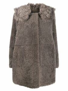 Yves Salomon concealed placket coat - Grey