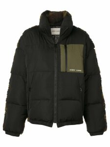 Sandy Liang camouflage faux shearling padded jacket - Black