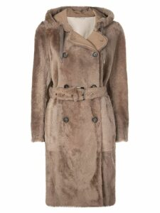 Brunello Cucinelli double-breasted hooded coat - Brown