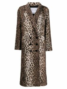 Redemption double-breasted leopard print coat - Neutrals