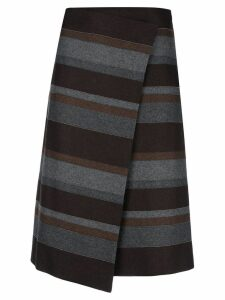 Brunello Cucinelli striped asymmetric skirt - Grey