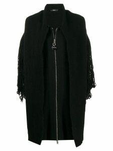 Diesel knitted fringe detail coat - Black