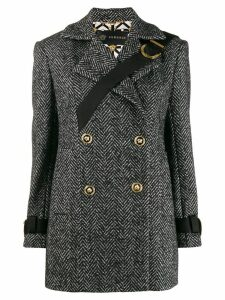 Versace short herringbone coat - Black