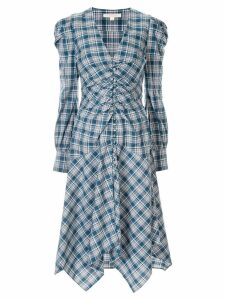 Jonathan Simkhai oxford cotton plaid draped dress - Blue
